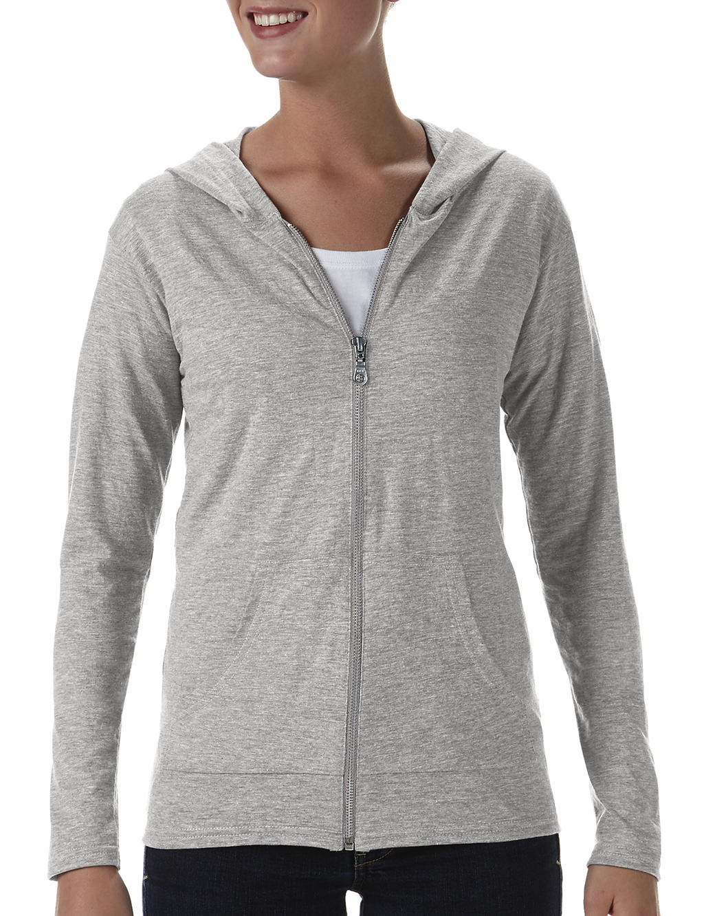 Anvil womens tri-blend full-zip hooded jacket heather grey