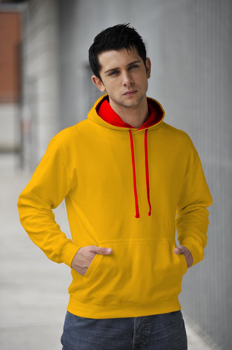 AWDis Varsity Hoodie Sun Yellow & Fire Red