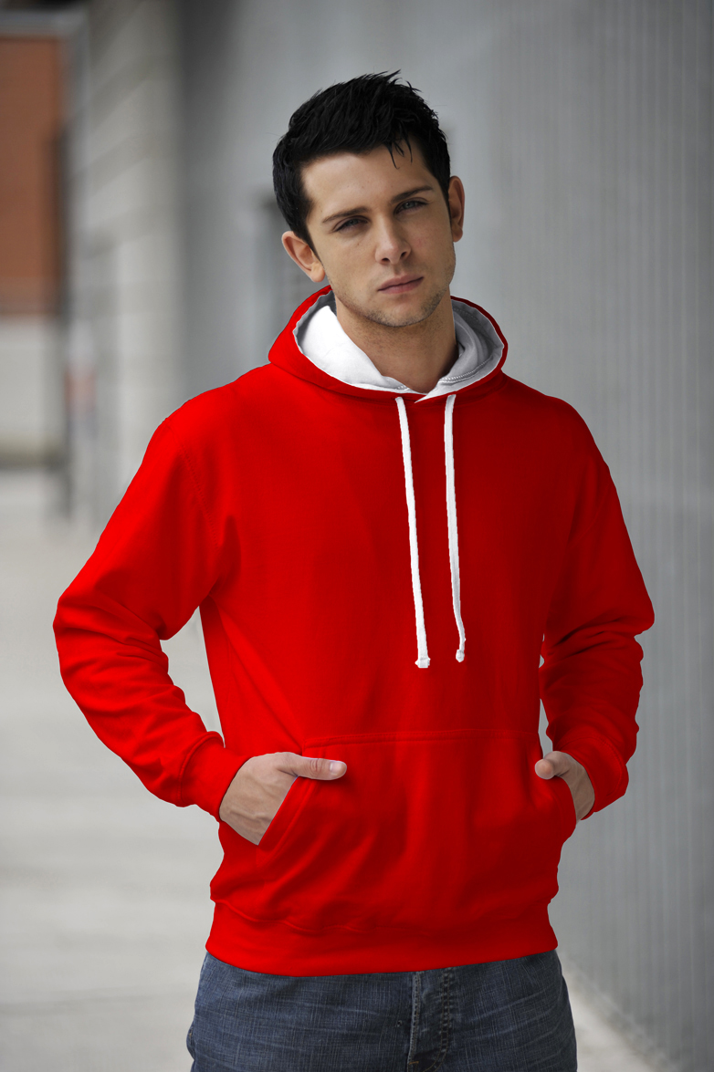 AWDis Varsity Hoodie Fire Red & Artic White