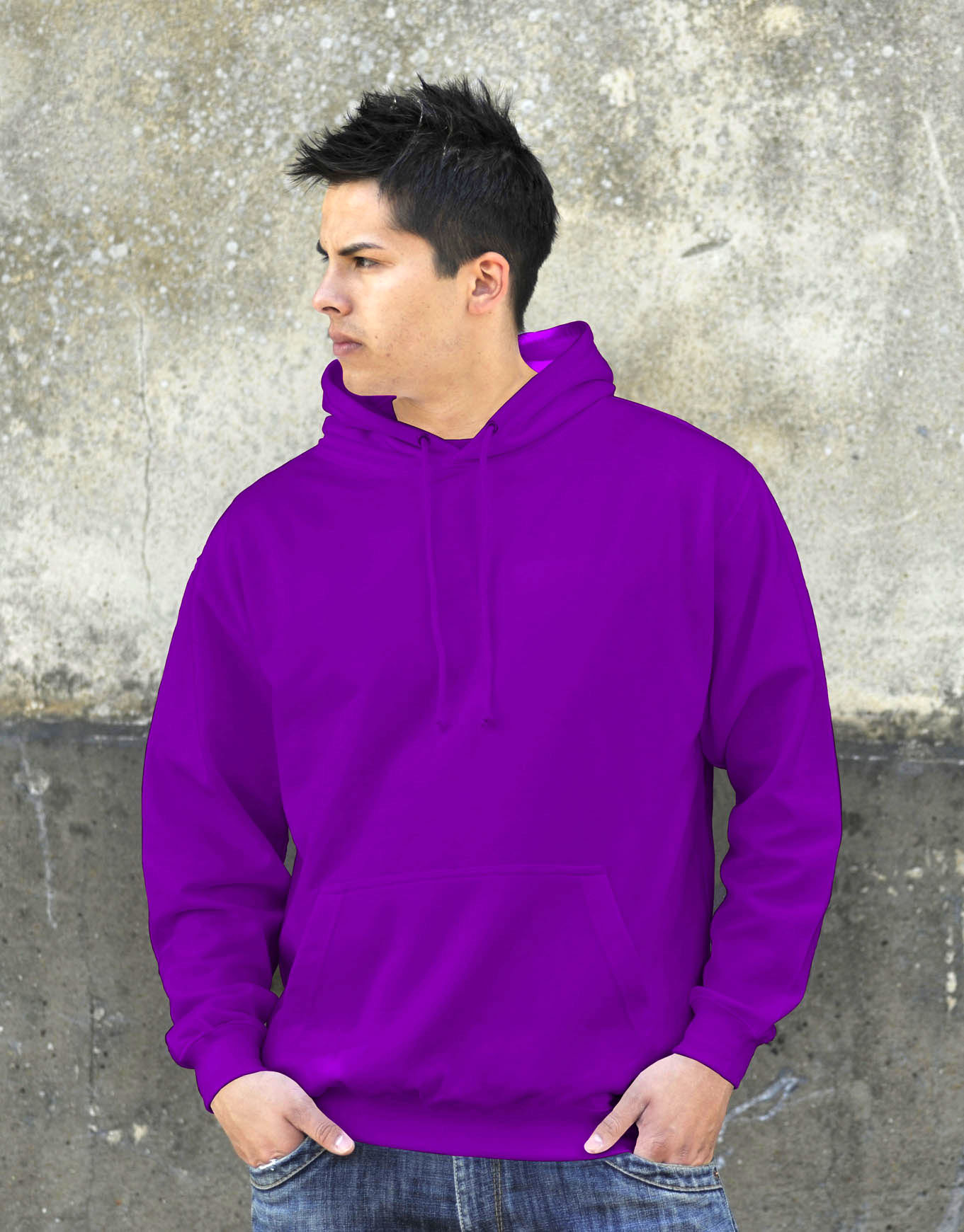 AWDis College Hoodie Magenta Magic