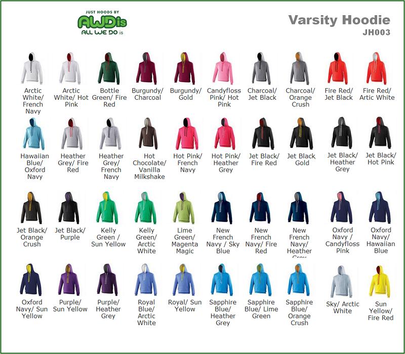 AWDis Hoods Varsity hoodie alle kleuren
