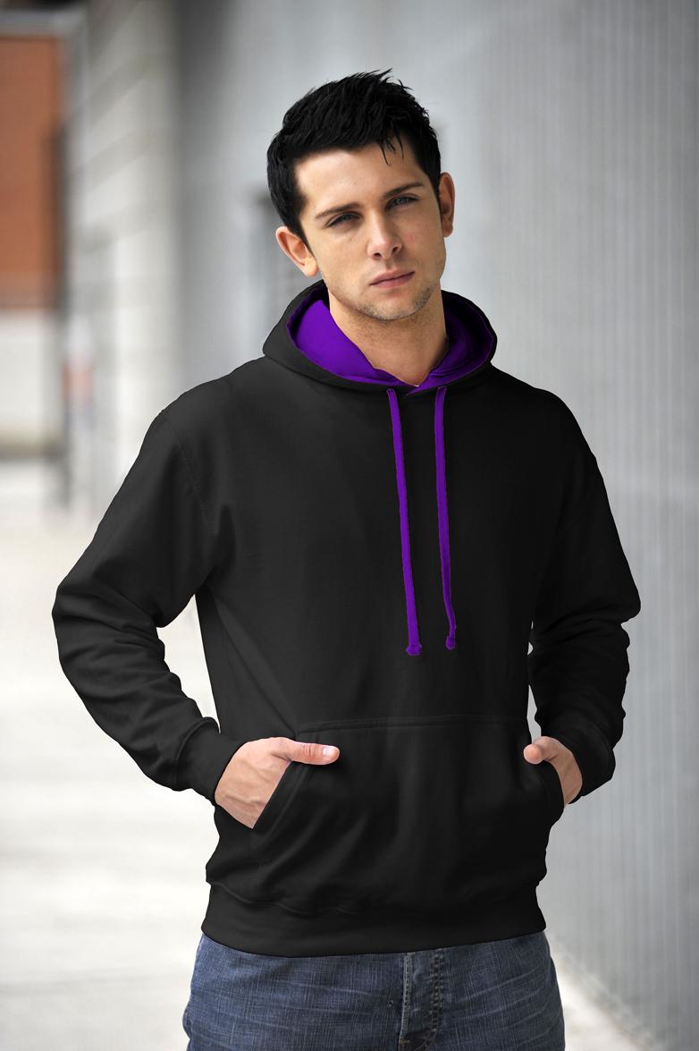 AWDis Varsity Hoodie Jet Black & Purple