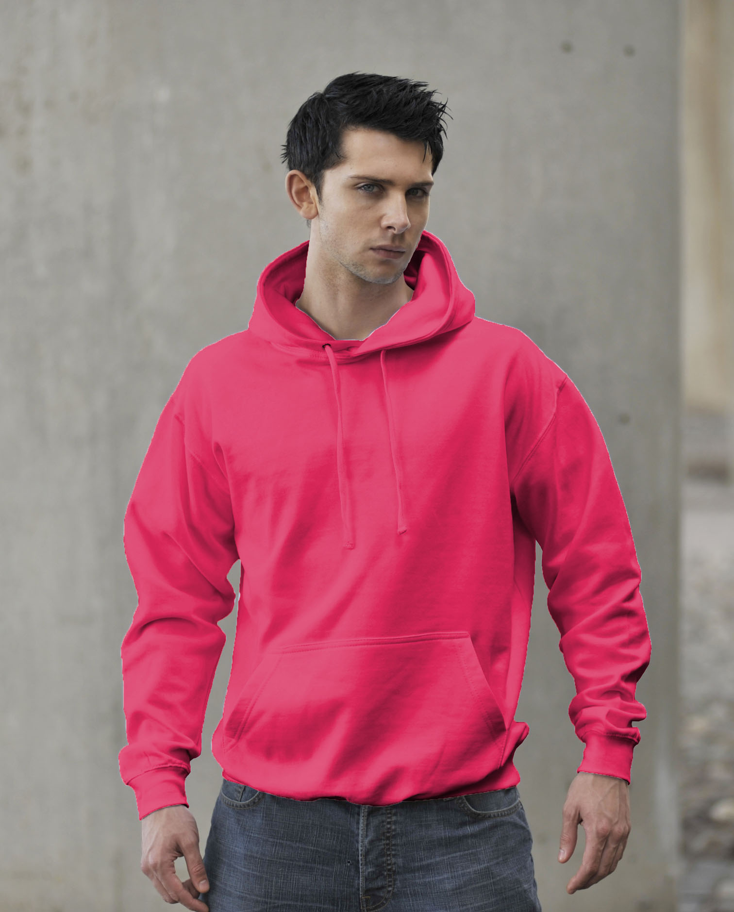 JH004 Fluor Hoodie Electric Pink