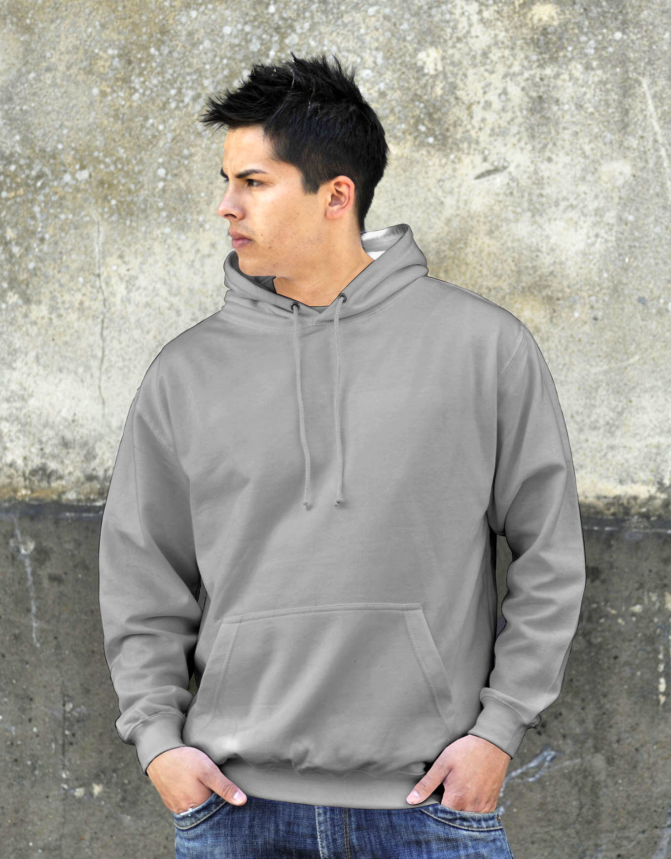 AWDis College Hoodie Heather Grey