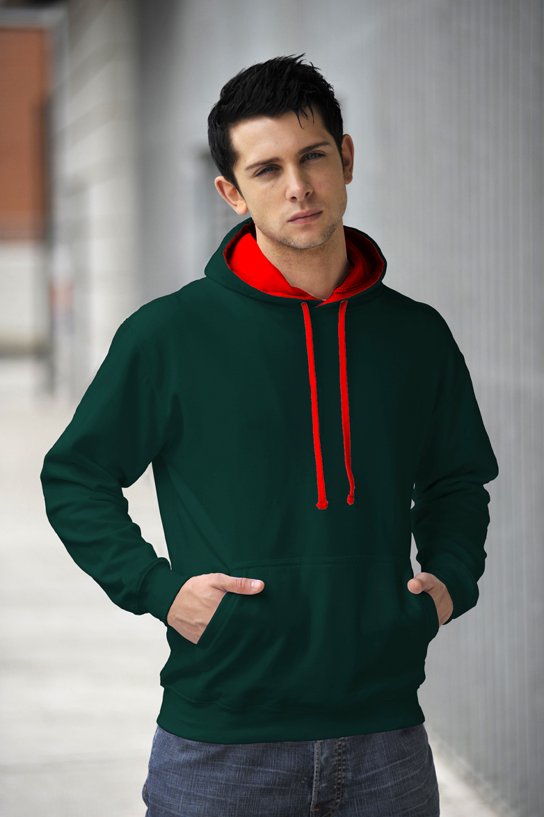 AWDis Varsity Hoodie Bottle Green & Fire Red