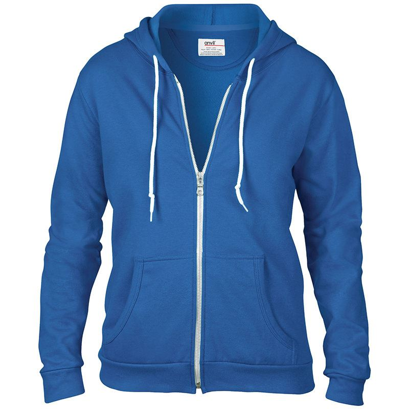 Anvil womens full zip hooded sweatshirt blue