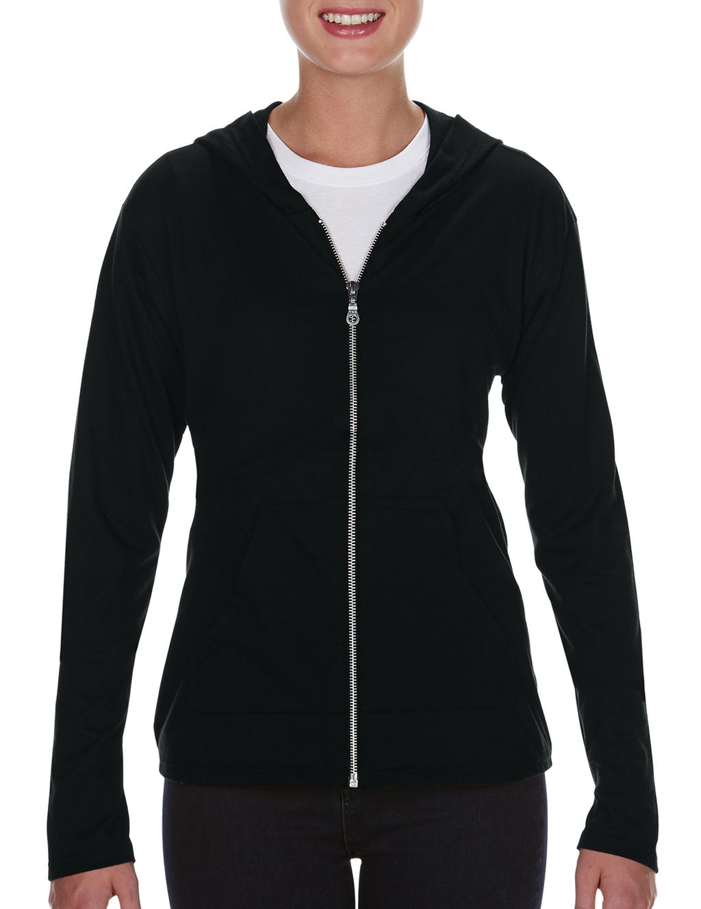 Anvil womens tri-blend full-zip hooded jacket zwart