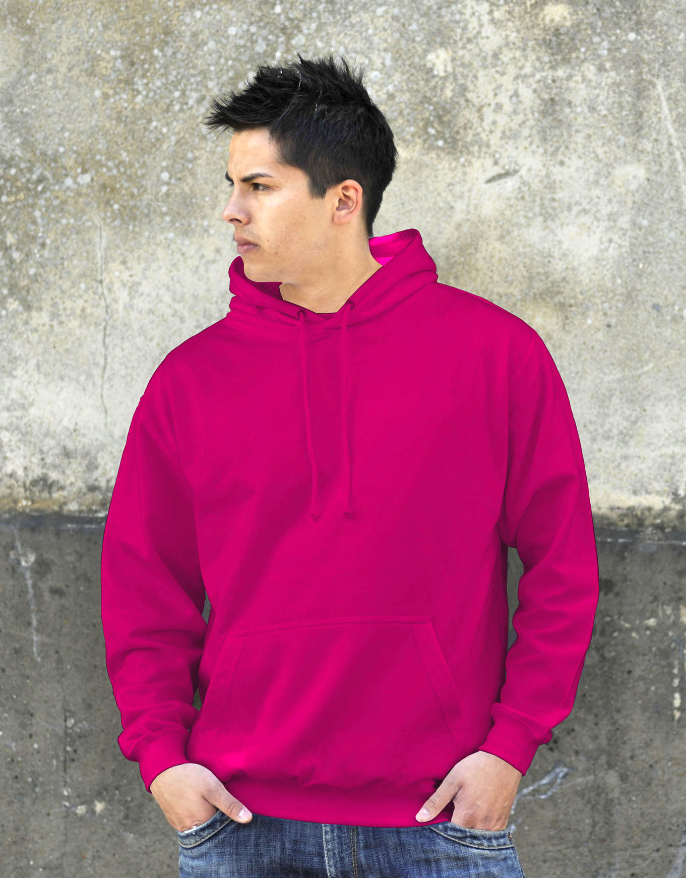AWDis College Hoodie Hot Pink