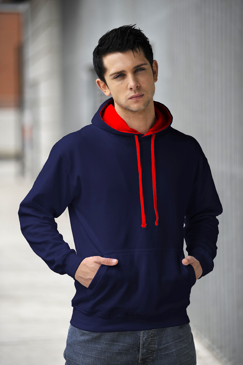 AWDis Varsity Hoodie New French Navy & Fire Red