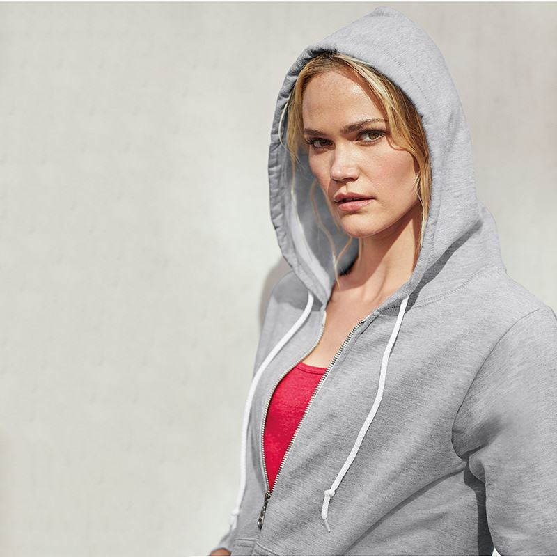 Anvil womens full zip hooded sweatshirt heather grey