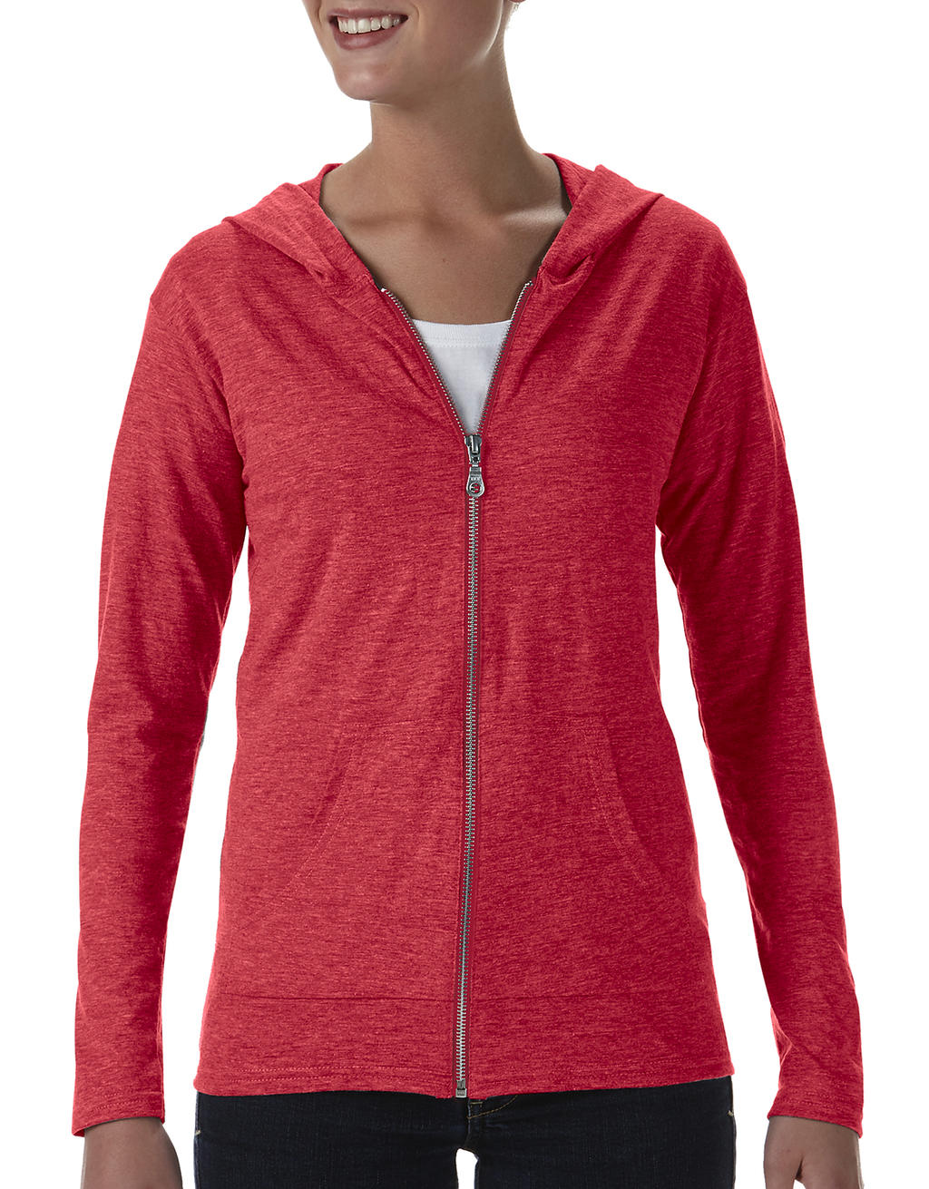 Anvil womens tri-blend full-zip hooded jacket rood