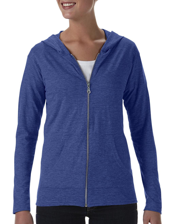 Anvil womens tri-blend full-zip hooded jacket heather blauw