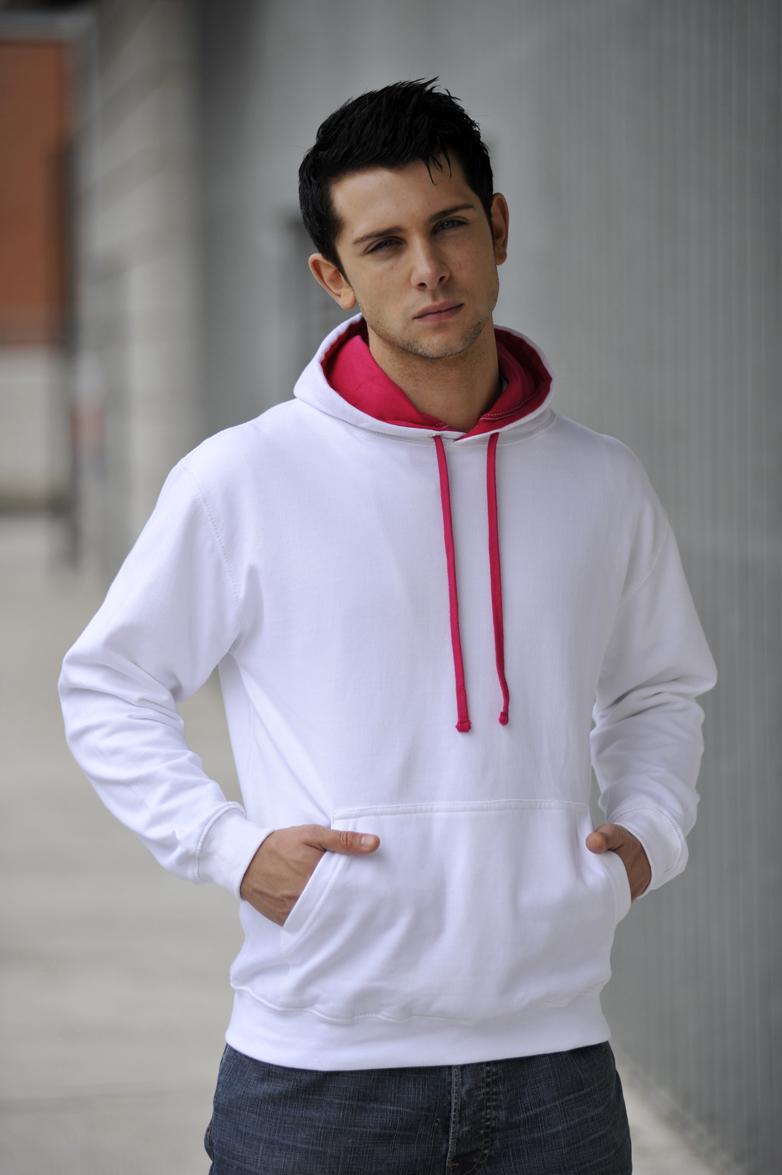 AWDis Varsity Hoodie Artic White & Hot Pink