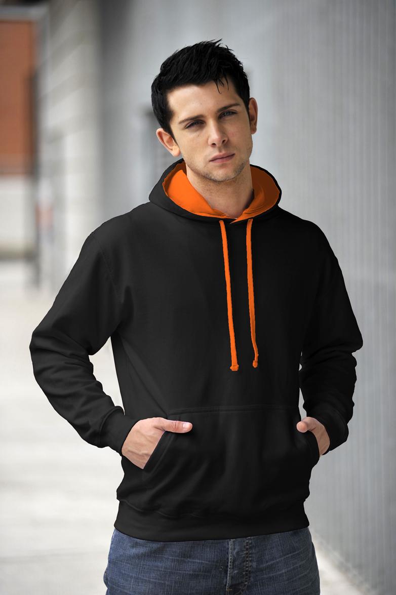AWDis Varsity Hoodie Jet Black & Orange Crush