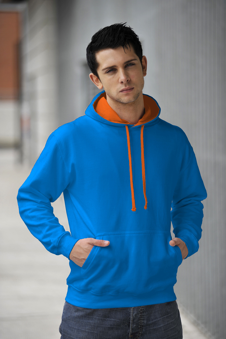 AWDis Varsity Hoodie Sapphire Blue & Orange Crush