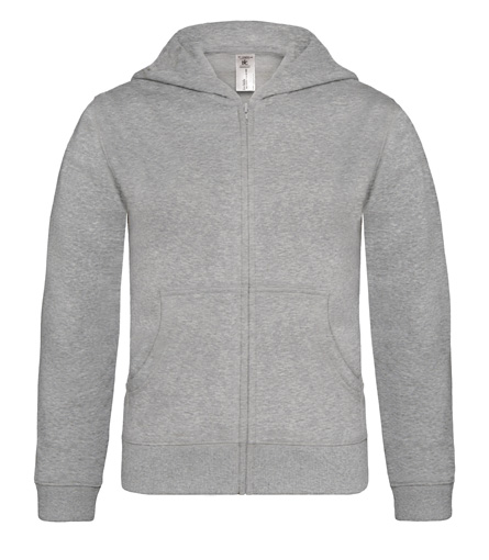 B-C Hooded Full Zip Kids Heather Grey