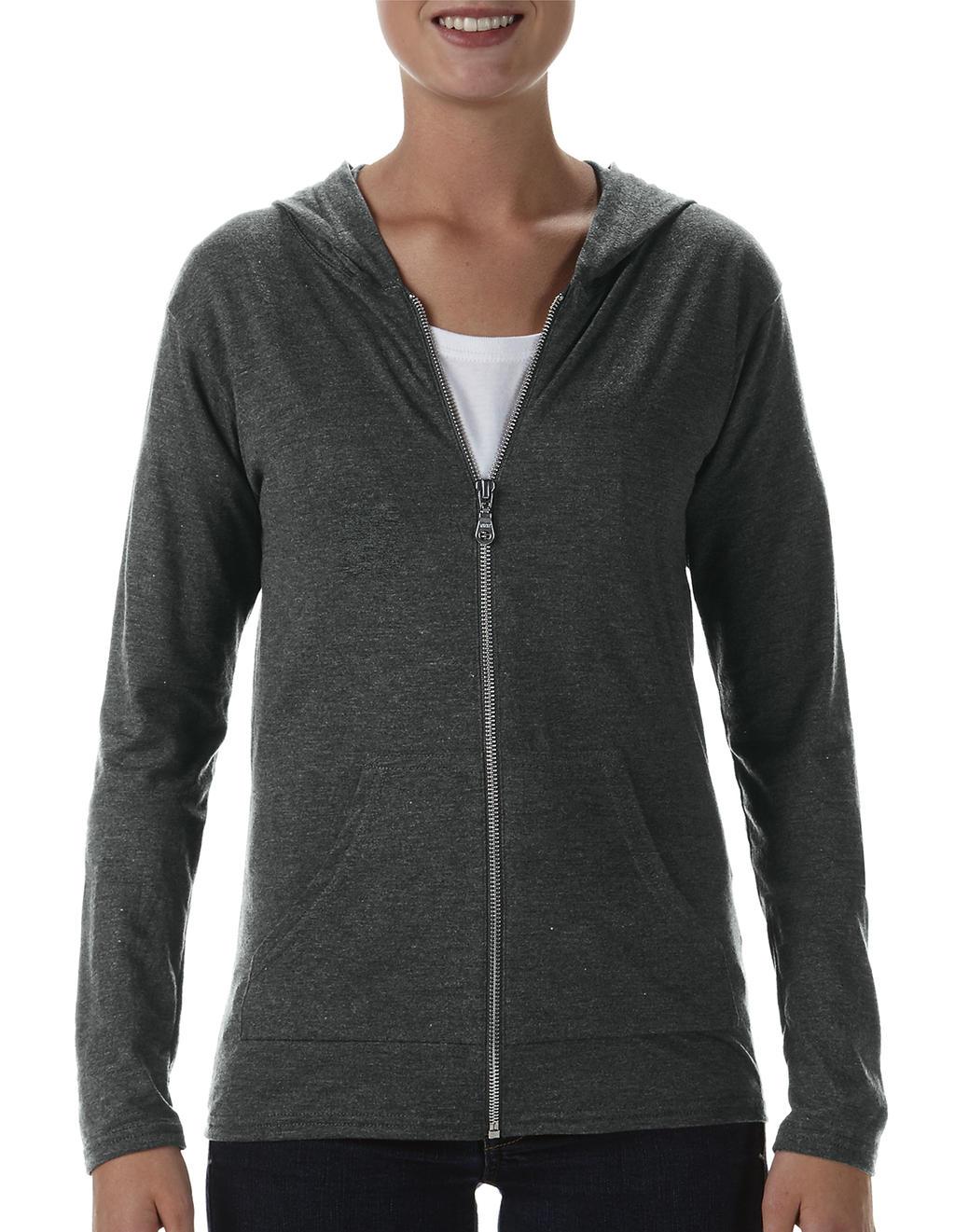 Anvil womens tri-blend full-zip hooded jacket dark grey